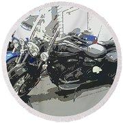 Motorcycle Ride - Three Round Beach Towel