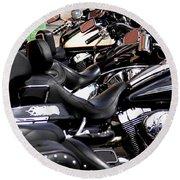 Motorcycles - Harleys And Hondas Round Beach Towel