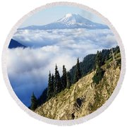 Mount Adams Above Cloud-filled Valley Round Beach Towel