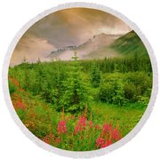 Mount Amery And Fireweed Round Beach Towel