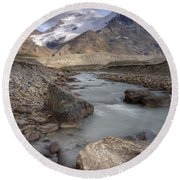 Mount Athabasca At Sunset Jasper Round Beach Towel