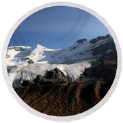 Mount Athabasca From The Columbia Icefields Round Beach Towel