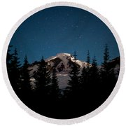 Mount Baker Starry Night Round Beach Towel