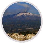 Mount Etna Round Beach Towel
