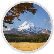 Mount Hood And Autumn Colours In Hood Round Beach Towel