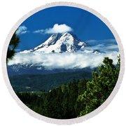 Mount Hood Framed By Trees, Oregon, Usa Round Beach Towel