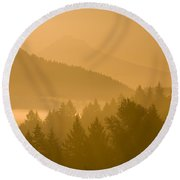 Mount Hood, Oregon, Usa Silhouetted Round Beach Towel