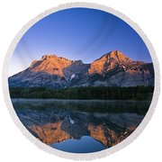Mount Kidd Reflected In Wedge Pond Round Beach Towel