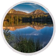 Mount Lassen Reflecting 2 Round Beach Towel