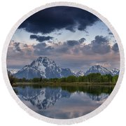 Mount Moran Under Black Cloud Round Beach Towel