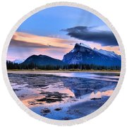 Mount Rundle In The Evening Round Beach Towel