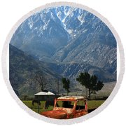 1941 Willys Week End Project Under Mount San Jacinto  Round Beach Towel