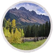 Mount Sneffels And Fence Round Beach Towel