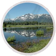 Mount Tallac Sky Projections Round Beach Towel