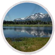 Mount Tallac View Of The Cross Round Beach Towel