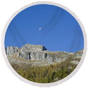 Mountain And Moon Round Beach Towel