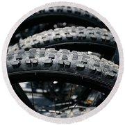 Mountain Bike Tires Round Beach Towel