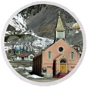 Mountain Chapel With Red Steps Round Beach Towel by Lorraine Devon Wilke