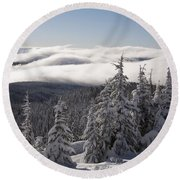 Mountain During Winter Round Beach Towel