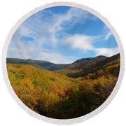 Mountain Foliage And Blue Skies Round Beach Towel