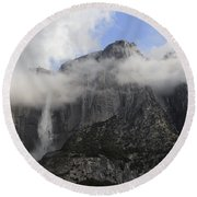 Mountain In The Clouds Round Beach Towel
