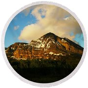 Mountain In The Morning Round Beach Towel