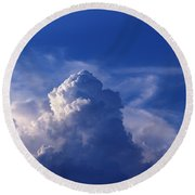 Mountain In The Sky Round Beach Towel