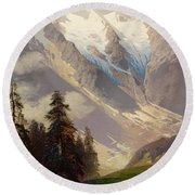 Mountain Landscape With The Grossglockner Round Beach Towel