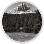 Mountain Peak Above The Tree Line Round Beach Towel