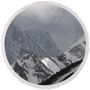 Mountain Peaks In Clouds, Spray Lakes Round Beach Towel