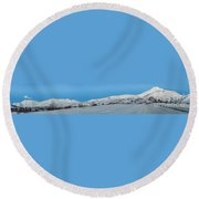 Mountain Range Along The Dempster Highway Round Beach Towel
