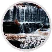 Mountain Stream Waterfall Round Beach Towel