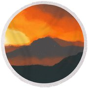 Mountain Sunset Round Beach Towel by Pixel  Chimp