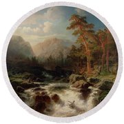Mountain Torrent Smaland Round Beach Towel