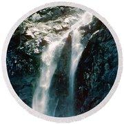 Mountain Waterfall Round Beach Towel