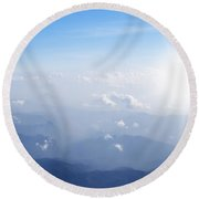 Mountain With Blue Sky And Clouds Round Beach Towel