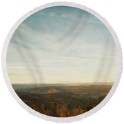 Mountains As Far As The Eye Can See Round Beach Towel by Priska Wettstein