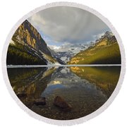 Mountains Reflected In Lake Louise Round Beach Towel