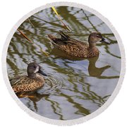 Mr And Mrs Blue Wing Teal Round Beach Towel