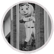 Mr Met In Black And White Round Beach Towel by Rob Hans