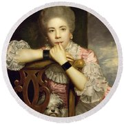 Mrs Abington As Miss Prue In Congreve's 'love For Love'  Round Beach Towel by Sir Joshua Reynolds