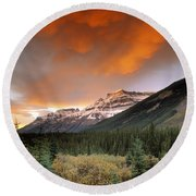 Mt. Amery And Dramatic Clouds, Banff Round Beach Towel
