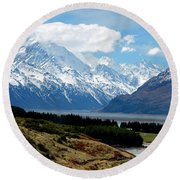 Mt Cook Across Lake Pukaki Round Beach Towel