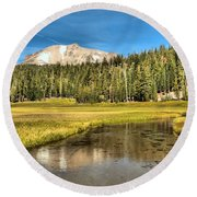 Mt Lassen Reflections Round Beach Towel