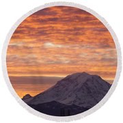 Mt Rainier December Sunrise Round Beach Towel