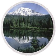Mt. Ranier Reflection Round Beach Towel