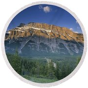 Mt Rundle And The Bow River Round Beach Towel