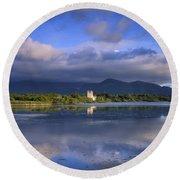 Muckross Lake, Ross Castle, Killarney Round Beach Towel