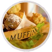 Muffins Fresh And Warm Round Beach Towel