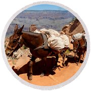 Mule Train Round Beach Towel